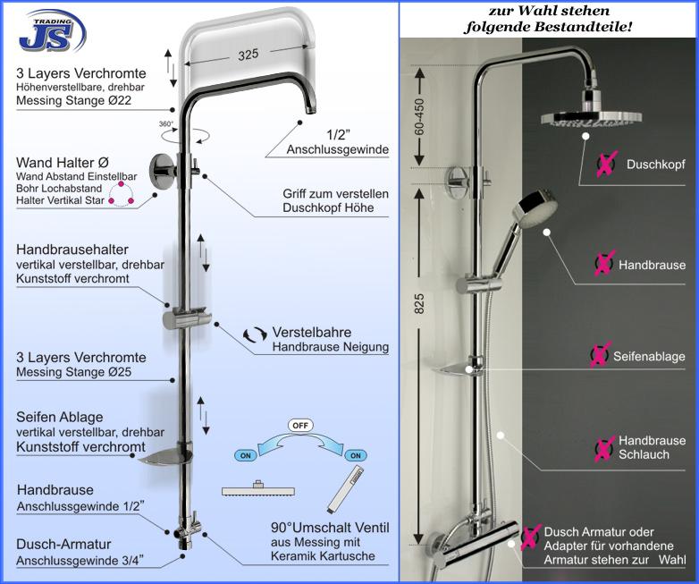 Duscharmatur Montieren : Dusche REGENDUSCHKOPF Regendusche DUSCHARMATUR Duschstange DUSCHPANEEL