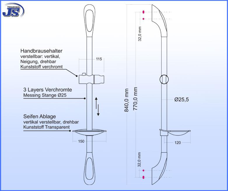 Duschzubeh?r Ablage : Duschstange mit praktischer Design-Ablage Dusch Brausestange