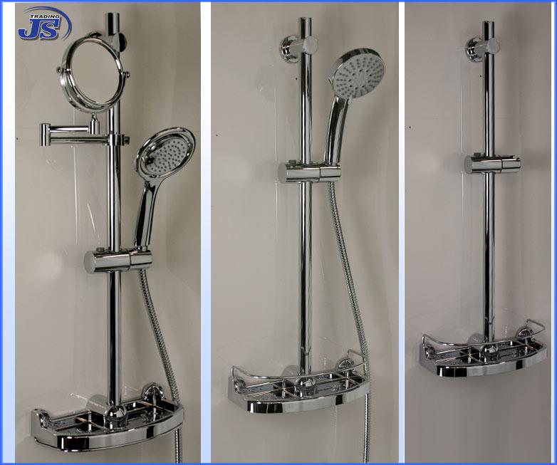 Duschzubeh?r Ablage : Details zu Duschstange mit praktischer Seifen Ablage DUSCH-SET Stange