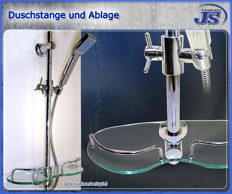 Duschzubeh?r Ablage : Details zu Duschstange mit praktischer Design-Ablage