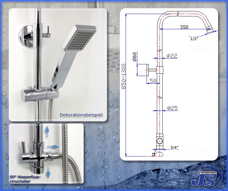 Duscharmatur Set : Duschstange Duscharmatur Set mit Verbindungsschlauch