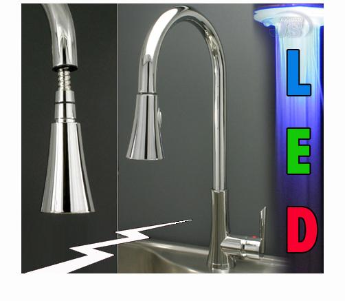 Niederdruck Küchen RGB LED Einhebelmischer Spültisch Armatur Wahl Set